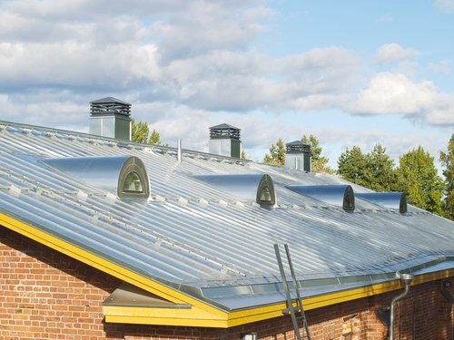 Steel pitched roof